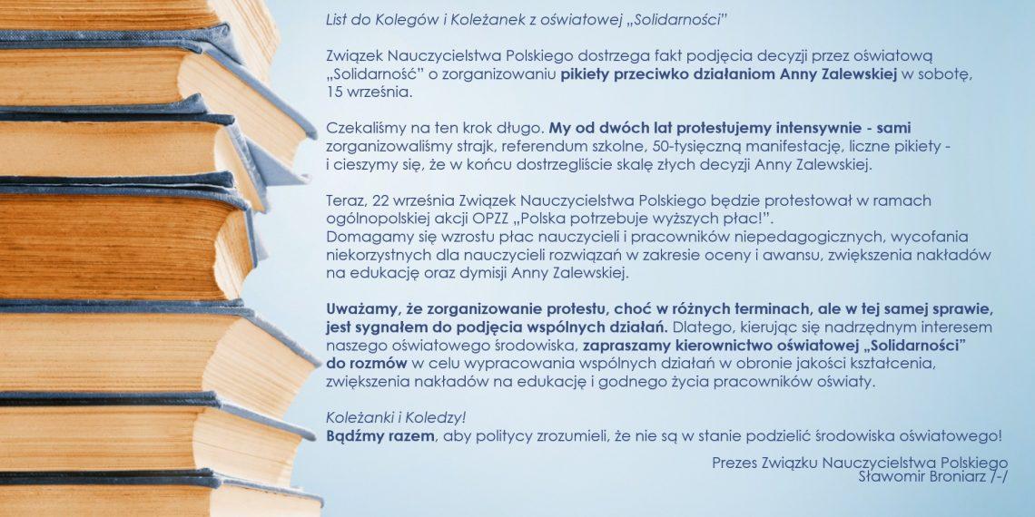 """List do Kolegów i Koleżanek z oświatowej """"Solidarności"""""""