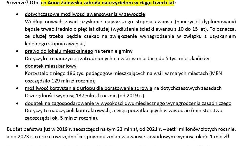 Przypominamy, co Anna Zalewska zabrała nauczycielom