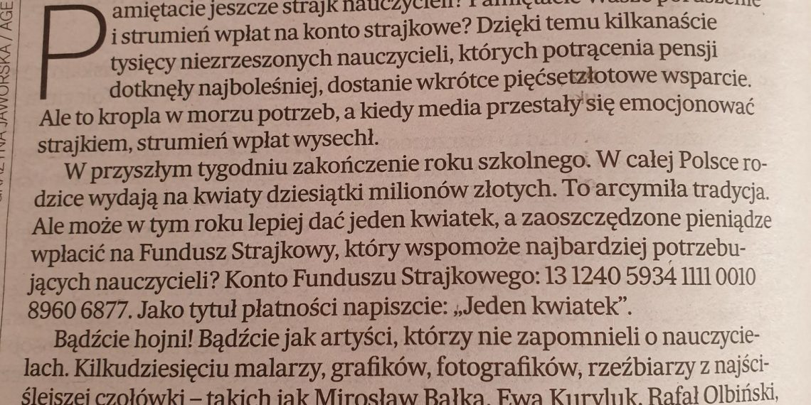 Redaktor Żakowski o akcji na rzecz strajkujących