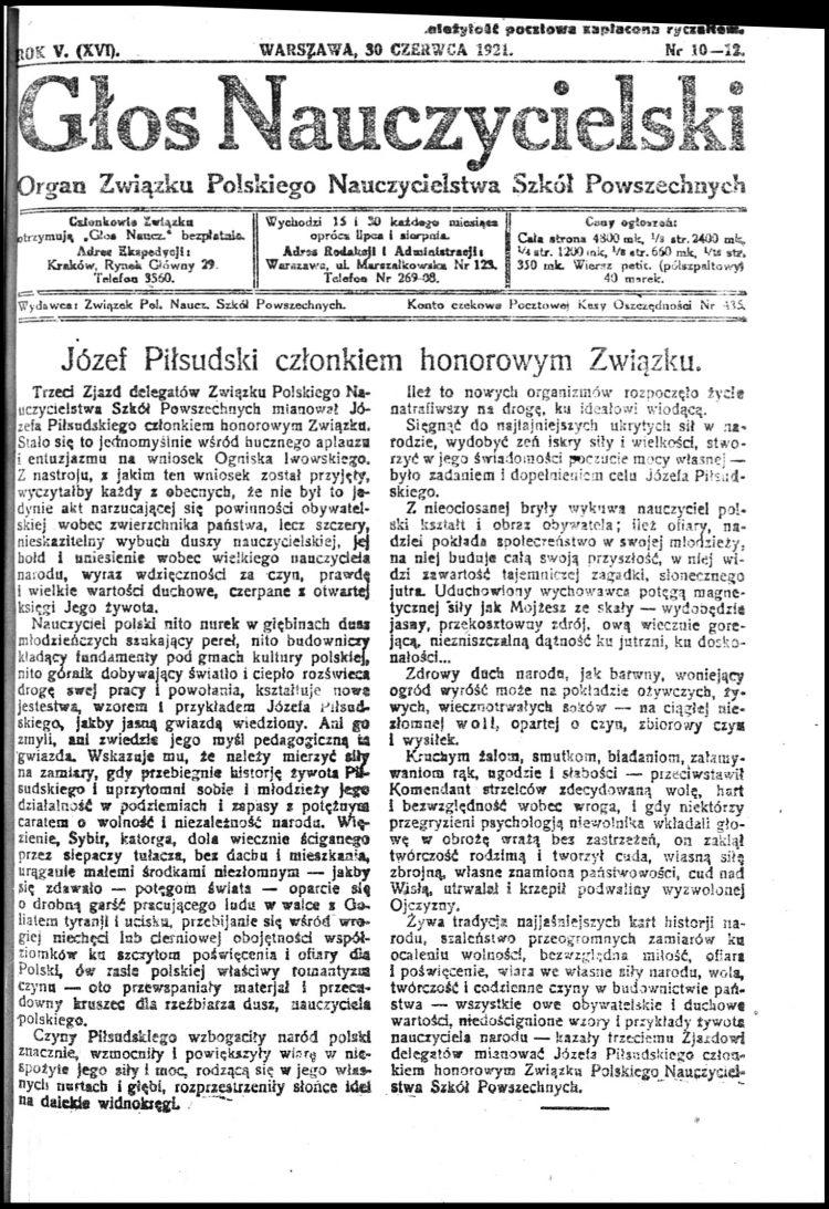 Józef Piłsudski Czlonkiem Znp Znp