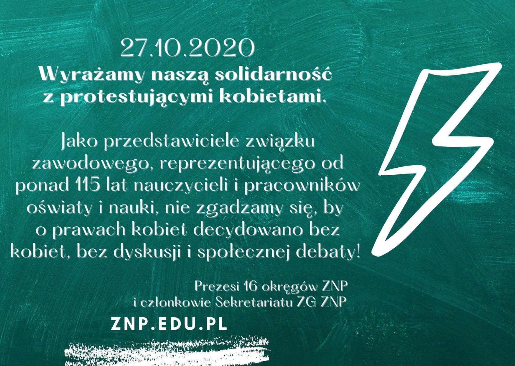 Oświadczenie Sekretariatu ZG ZNP i prezesów okręgów ZNP