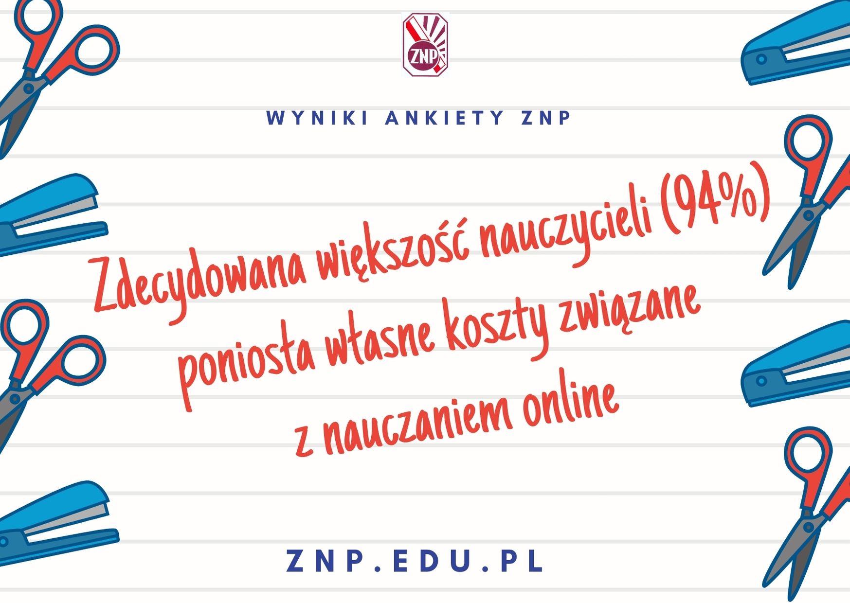 Ankieta ZNP: Zdecydowana większość nauczycieli poniosła własne koszty związane z nauczaniem online