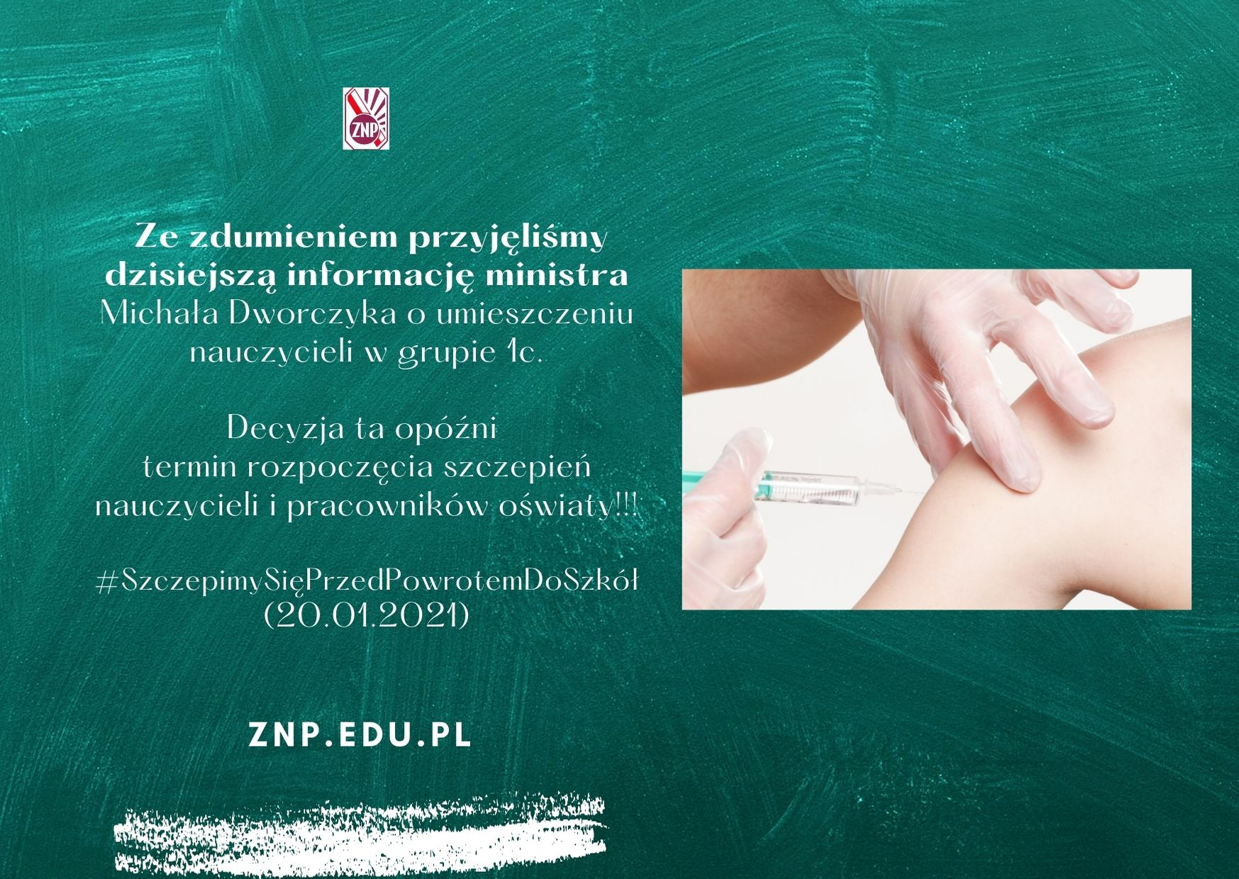 Oświadczenie ZNP w związku z korektą harmonogramu szczepień – 20.01.2021