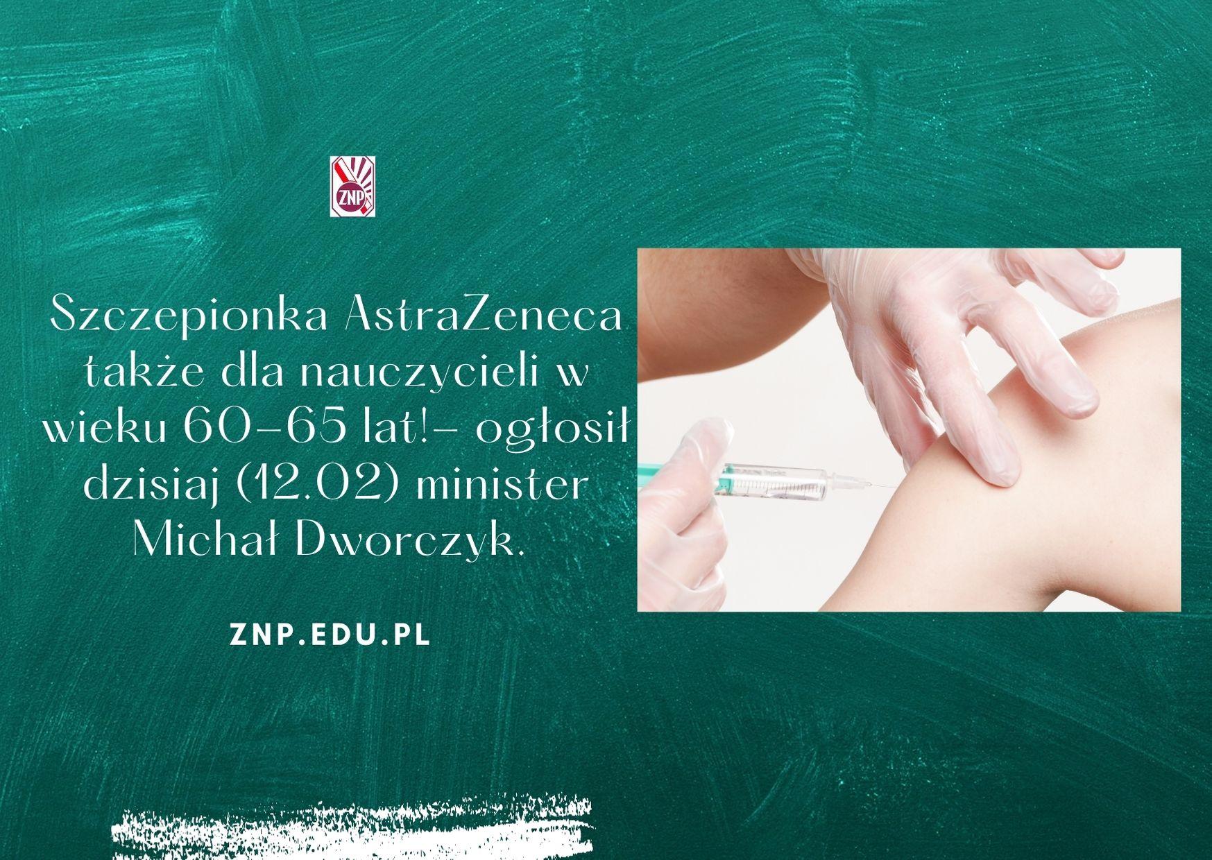 Szczepionka AstraZeneca także dla nauczycieli do 65 r.ż.