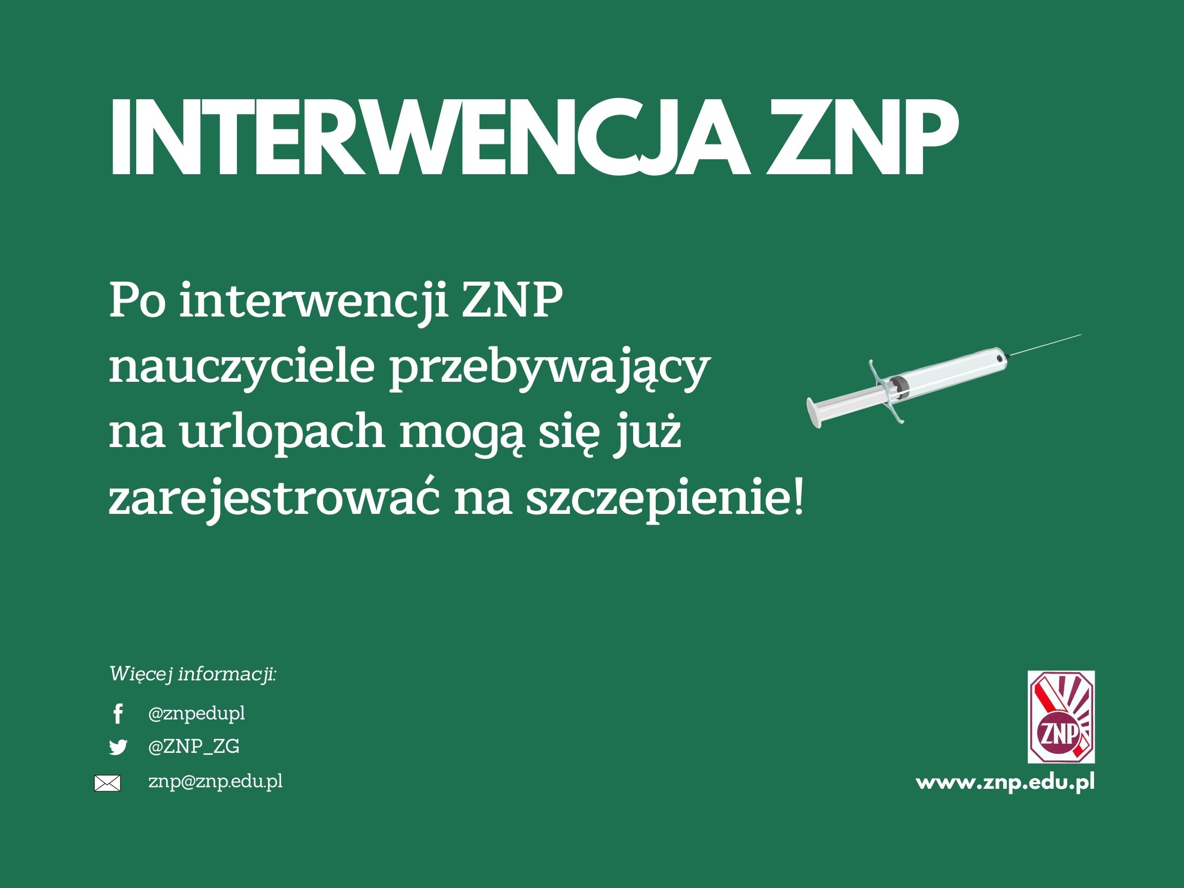 Szczepienia: Po interwencji ZNP ruszyła rejestracja nauczycieli na urlopach!