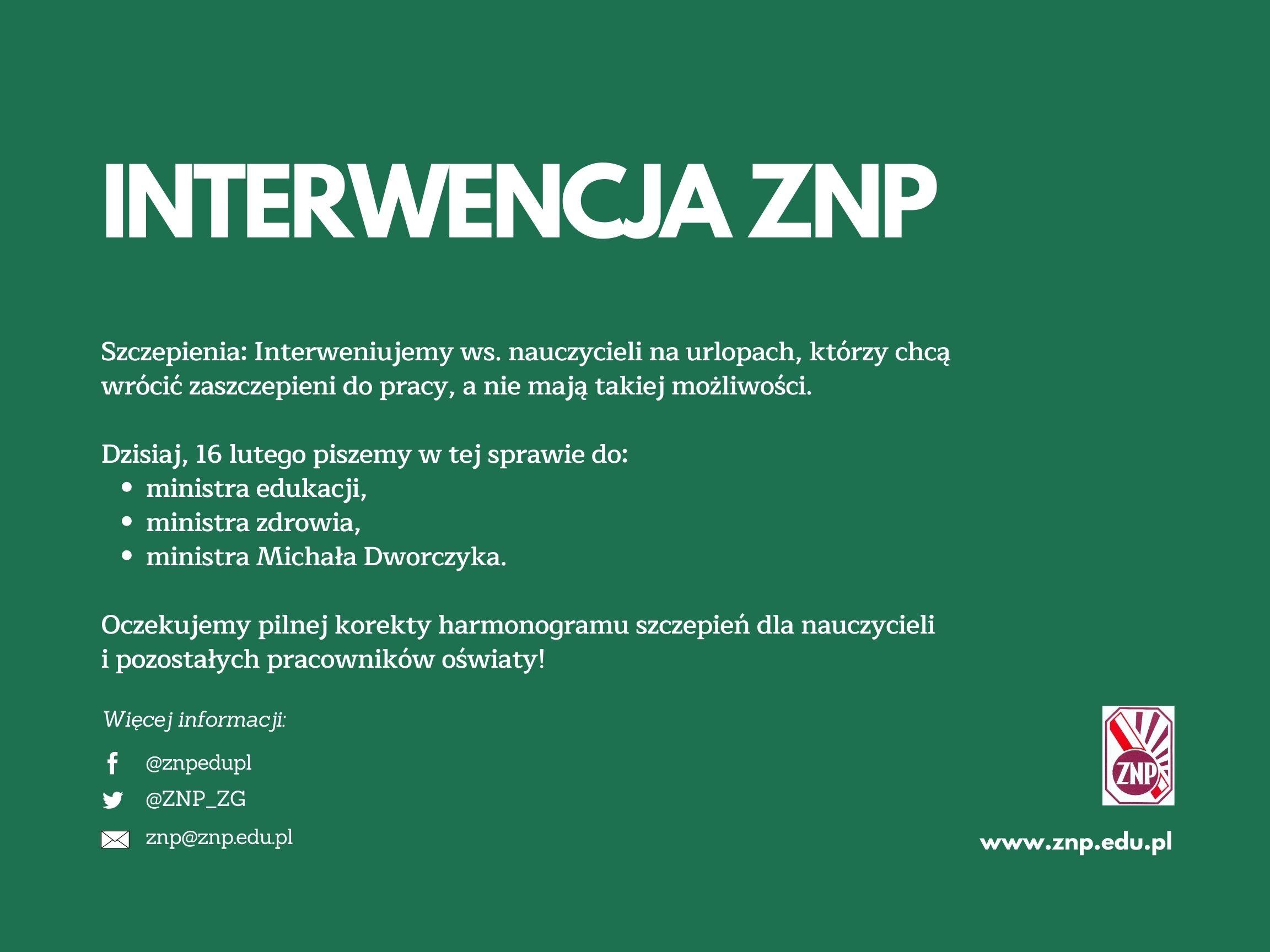 INTERWENCJA ZNP ws. nauczycieli na urlopach
