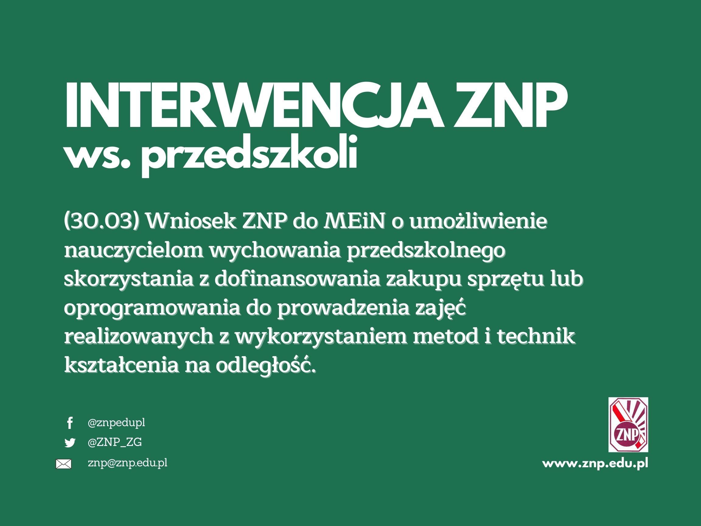 Wniosek ZNP do MEiN ws. dofinansowania zakupu sprzętu lub oprogramowania do prowadzenia zajęć na odległość w przedszkolach