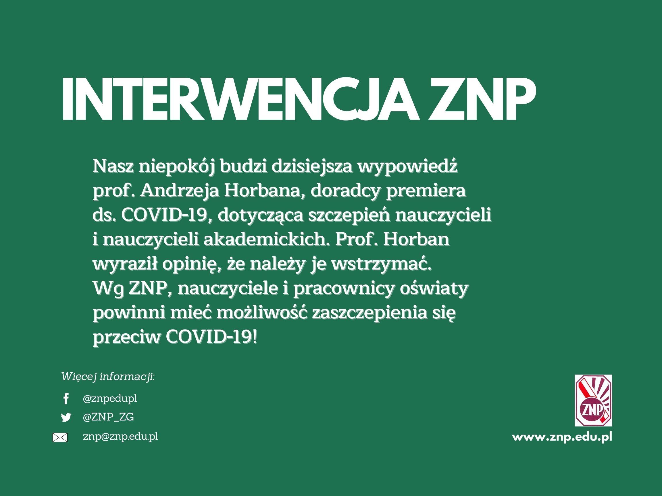 Oświadczenie ZNP w związku z decyzjami ws. szczepień