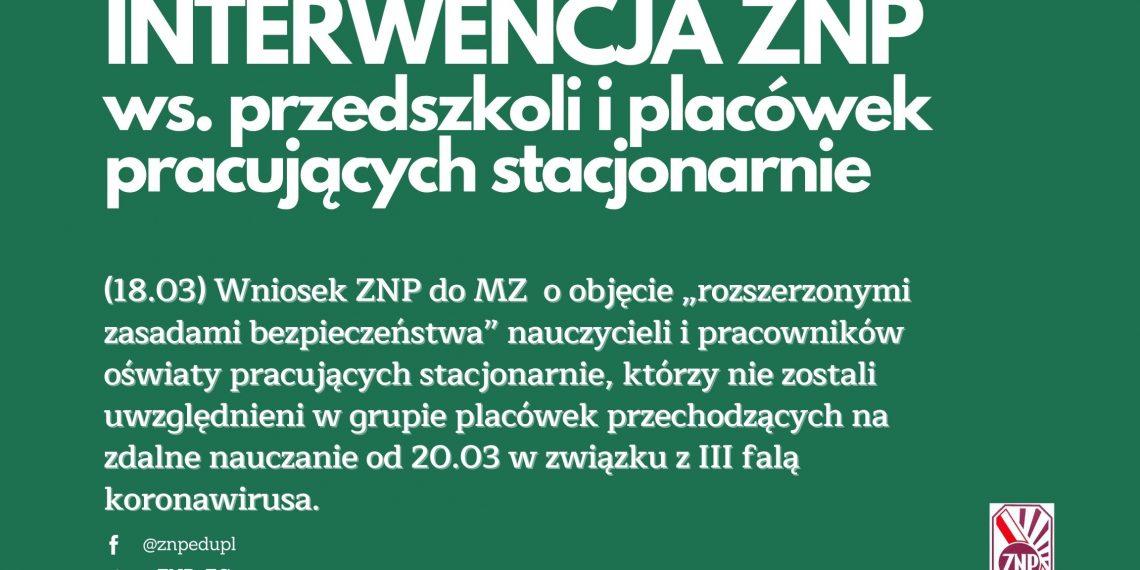 Interwencja ZNP ws. przedszkoli i placówek pracujących stacjonarnie